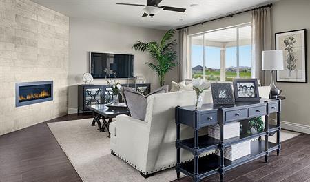 Family room of the Coronado floor plan