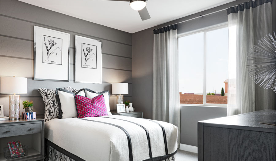 Bedroom in the Beverly model home