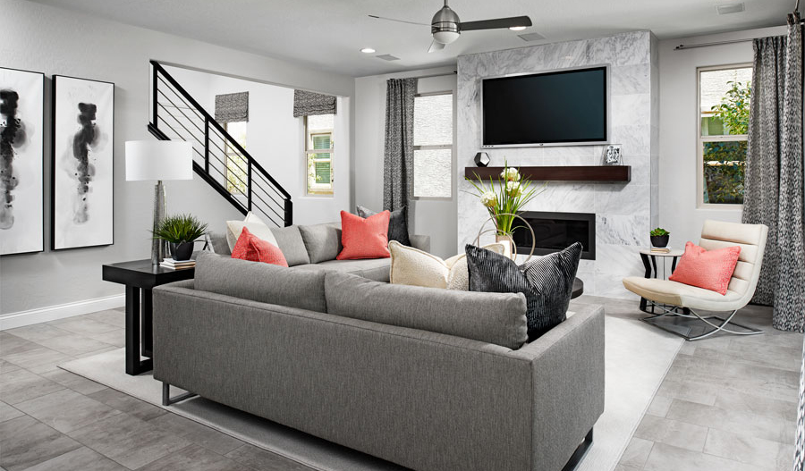 Family room of the Beverly floor plan