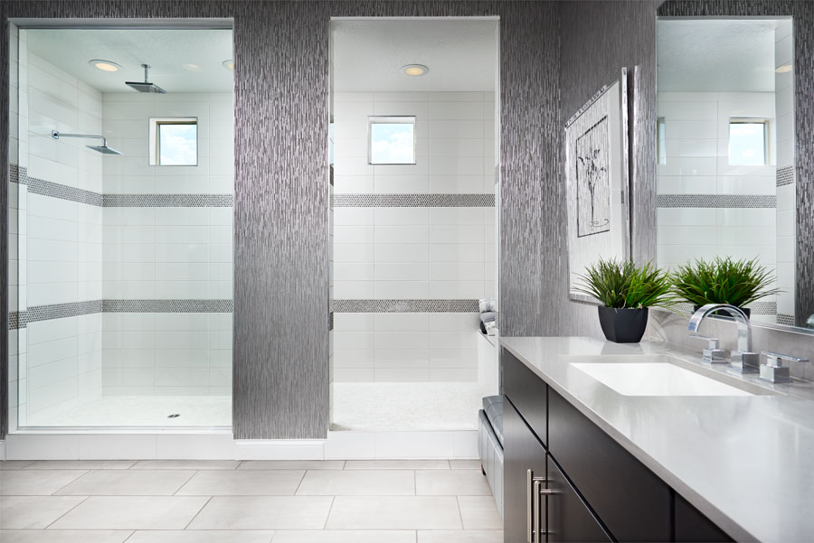 Master bathroom with walk-in shower of the Beverly floor plan
