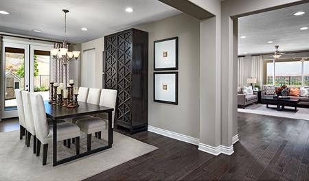 Dining room and family room in the Julia floor plan