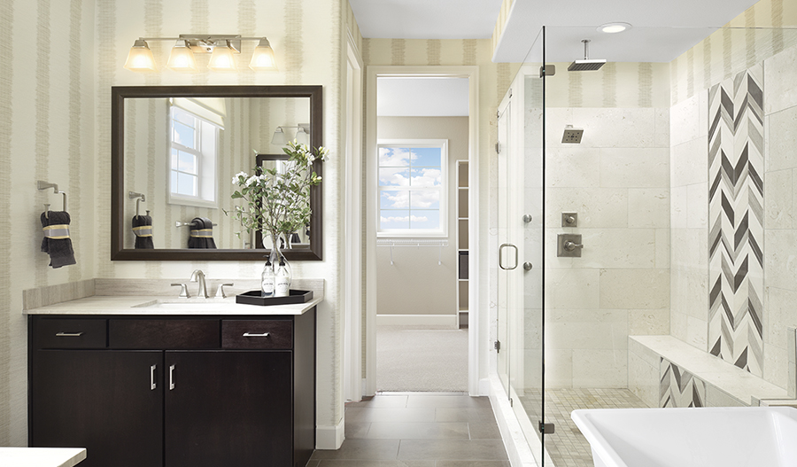 Master bath with walk-in shower in Daley floor plan