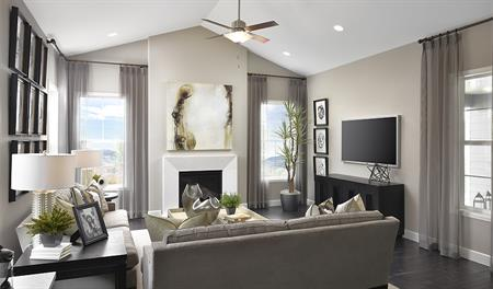 Living room with fireplace in the Daley floor plan