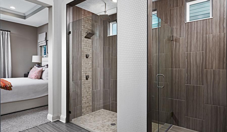 Master bath with walk-in shower in Daniel floor plan