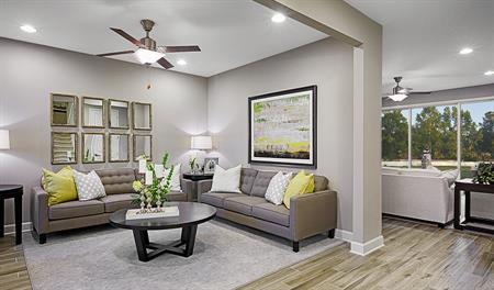 Living room of the Piermont floor plan