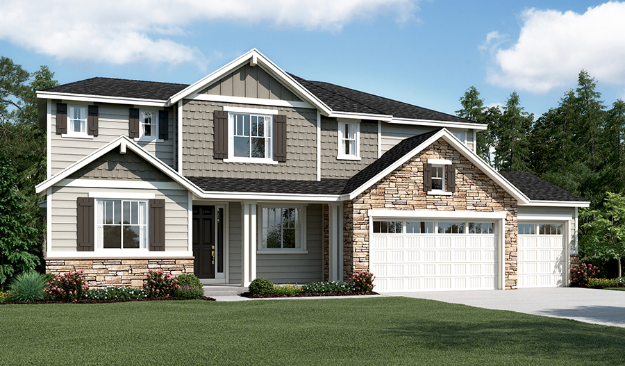 Exterior D of the Hastings floor plan with 3-car garage