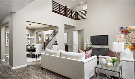 Great room in the Desiree floor plan