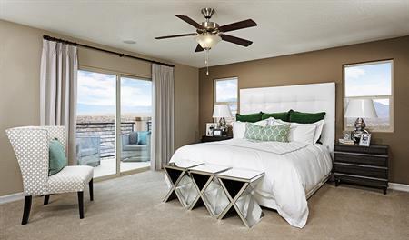 Master bedroom in the Belle floor plan