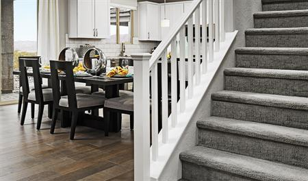 Stairs and dining room in the Sadie floor plan