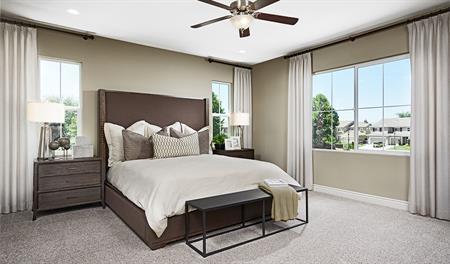 Master bedroom in the Andrea floor plan