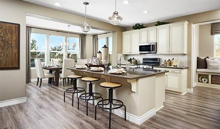 Kitchen and breakfast nook in the Andrea floor plan