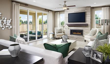 Family room with fireplace in the Seth floor plan
