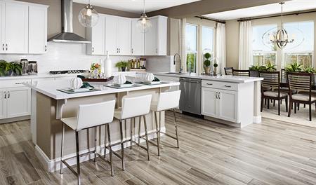 Kitchen and breakfast nook in the Seth floor plan