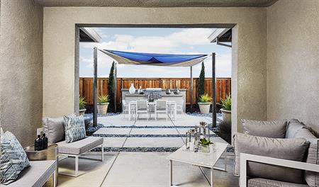 Covered patio in the Caroline floor plan