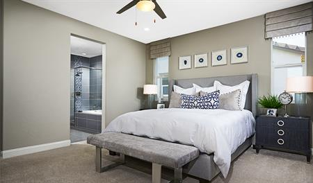 Master bedroom in the Caroline floor plan