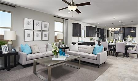 Great room of the Raleigh floor plan