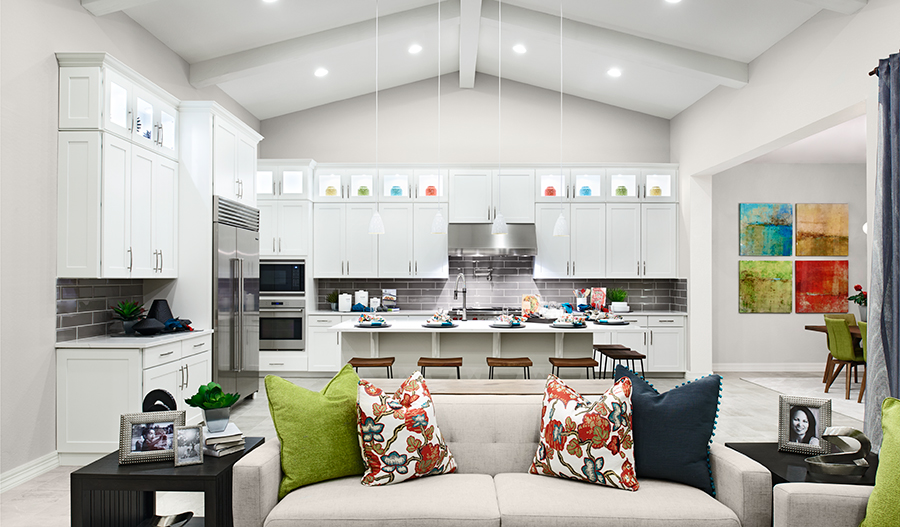 Family room and kitchen of the Ryder floor plan