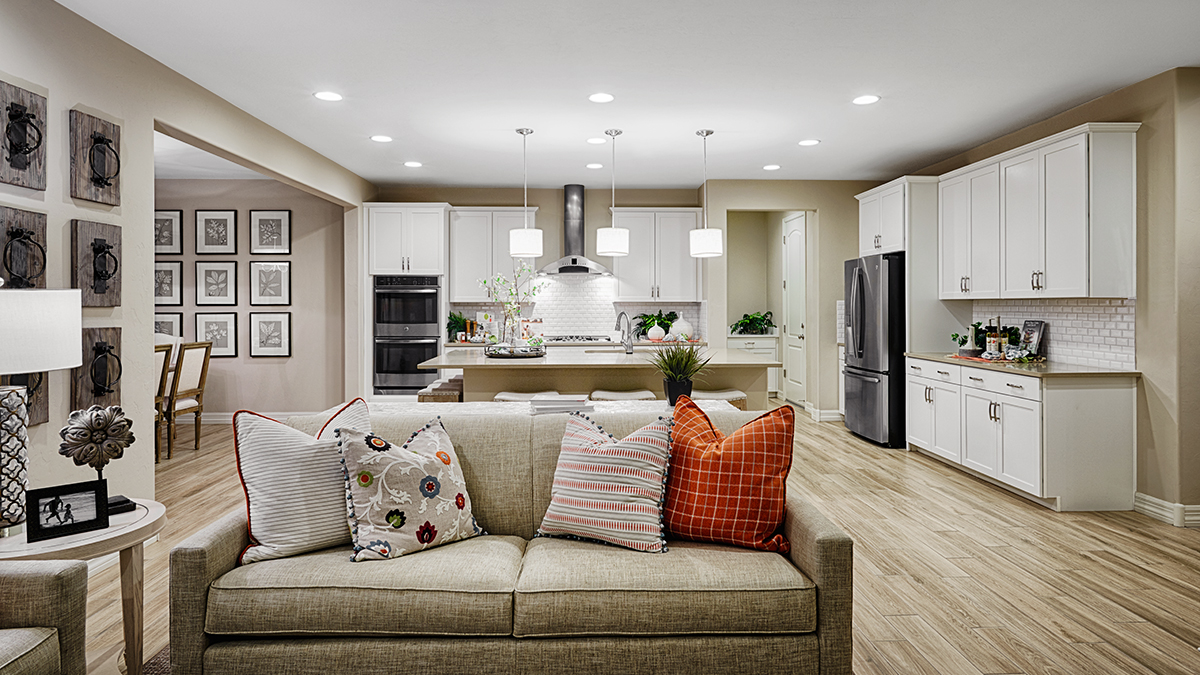 Great room and kitchen of the Augusta floor plan
