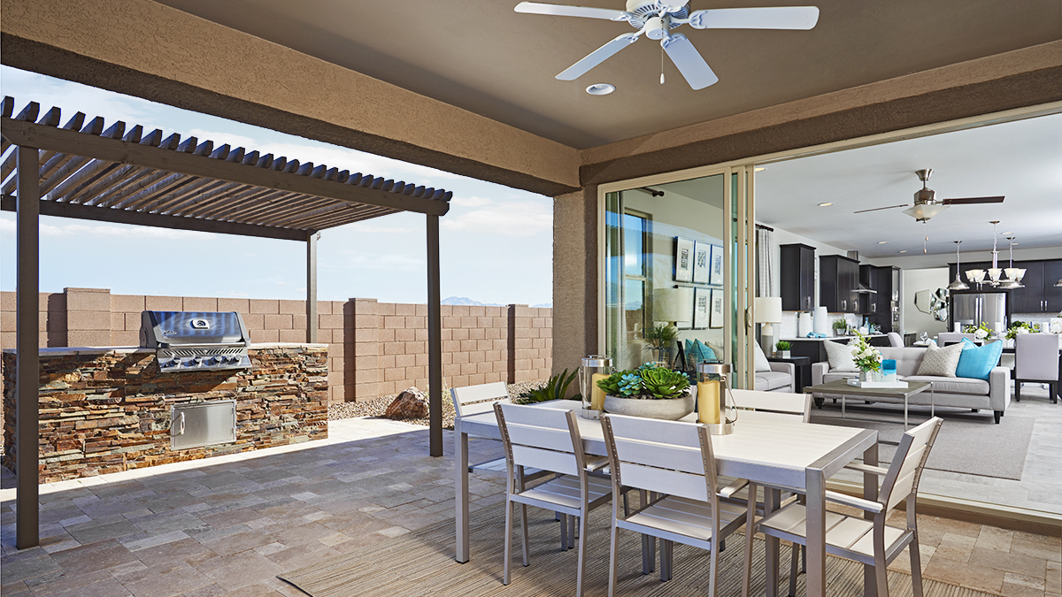 Patio and great room of the Raleigh floor plan