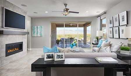 Family room of the Raleigh floor plan