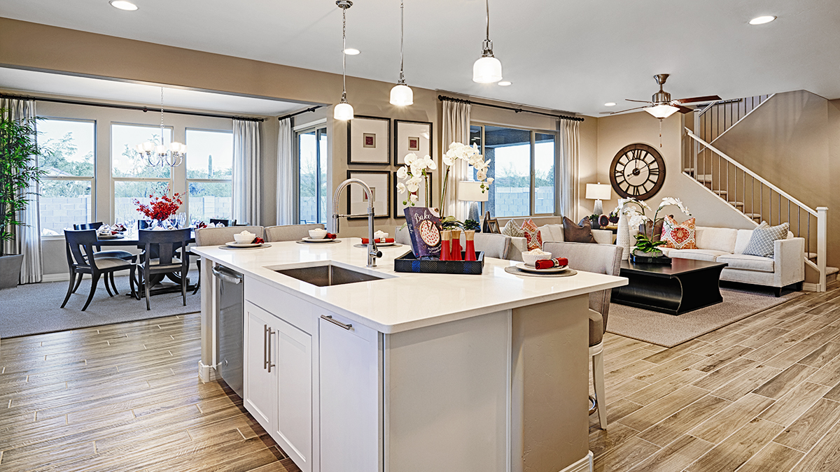 Kitchen and great room of the Hopewell floor plan