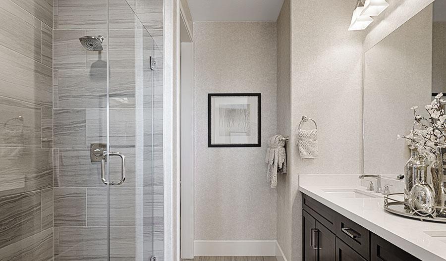 Master bathroom of the Evette floor plan