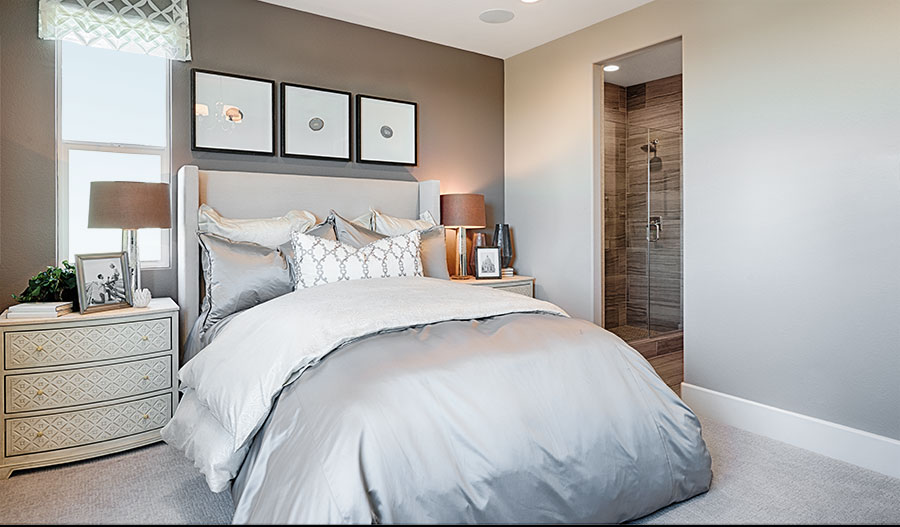 Bedroom in the Evette model home