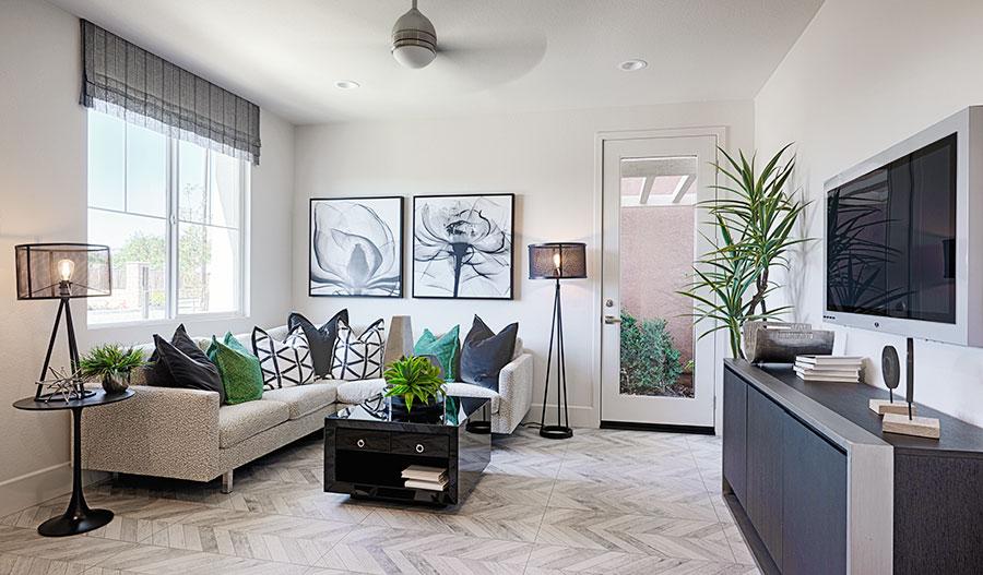 Living room of the Evette floor plan