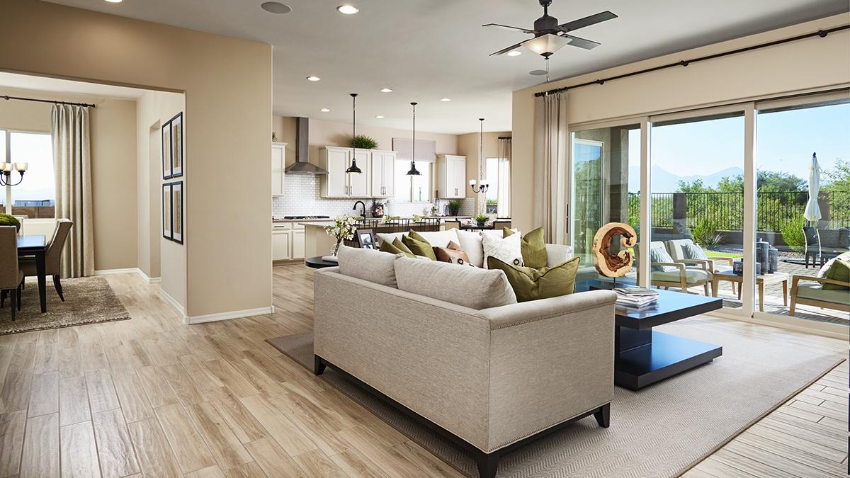 Great room of the Delaney floor plan