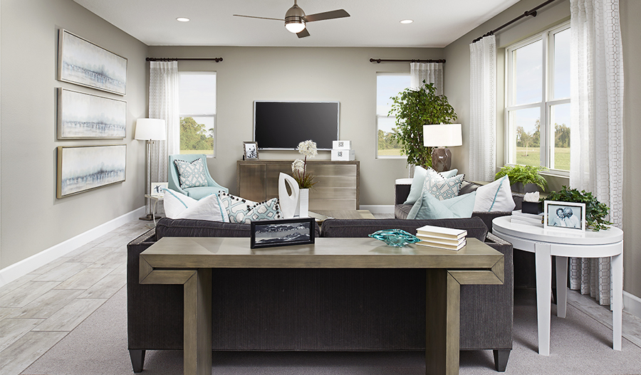 Family room of the Moonstone floor plan