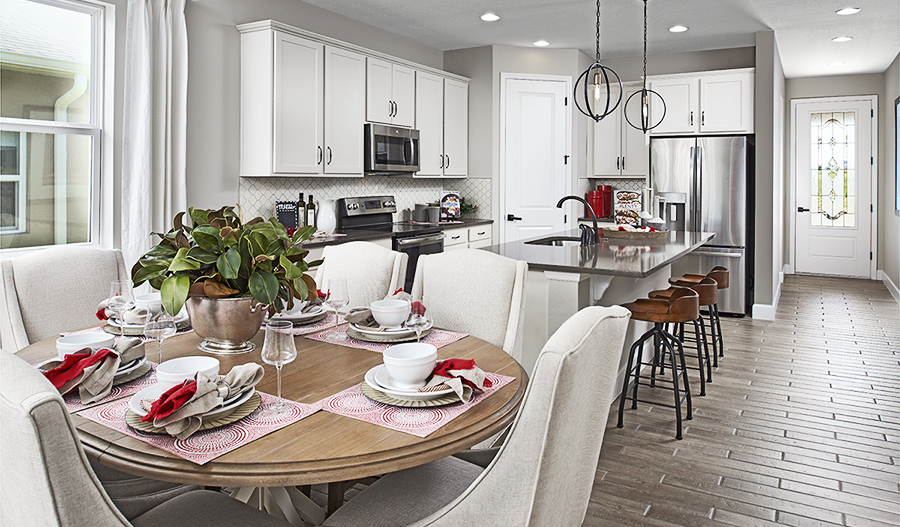 Kitchen and nook of the Ruby floor plan