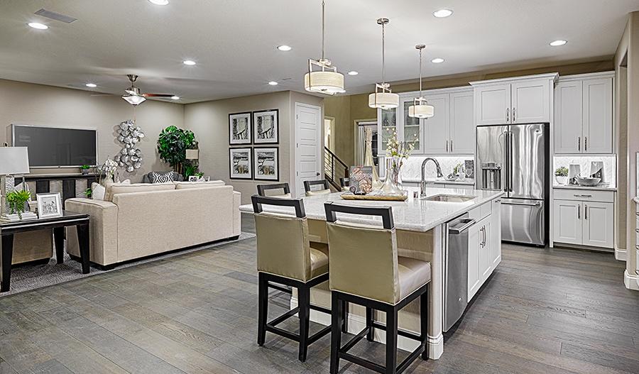 Great room and kitchen of the Coronado floor plan