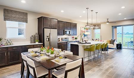 Great room and kitchen of the Onyx floor plan