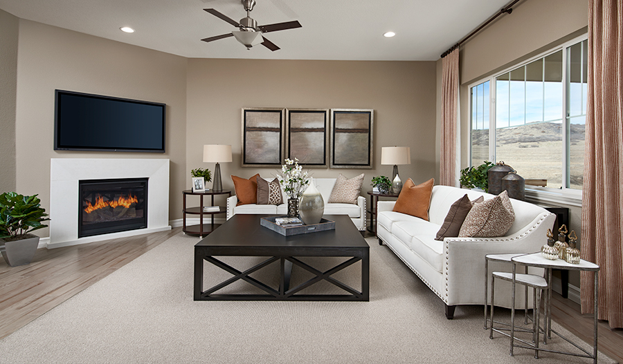 Family room of the Dearborn floor plan