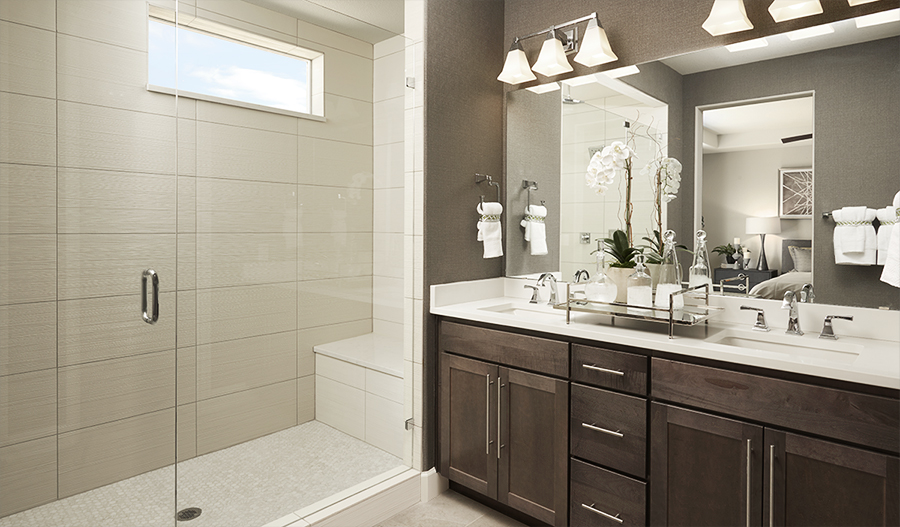 Master bathroom of the Dearborn floor plan