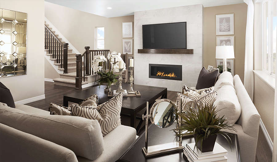 Family room of the Yorktown floor plan