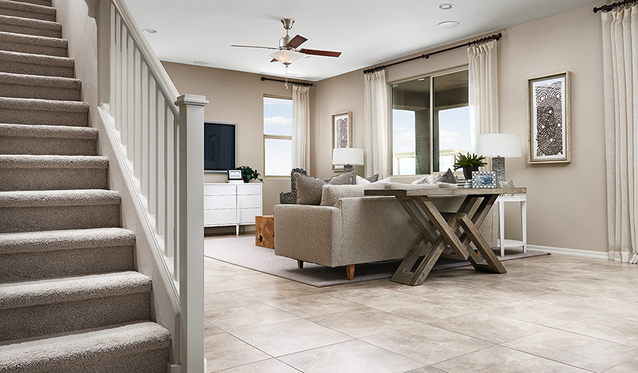 Family room of the Pearl floor plan