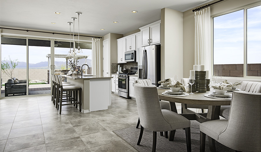Kitchen and nook of the Pearl floor plan