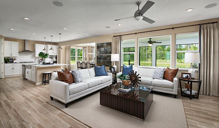 Great room of the Yorktown floor plan