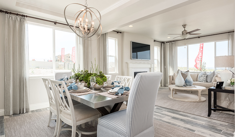 Dining and great room of Leah plan