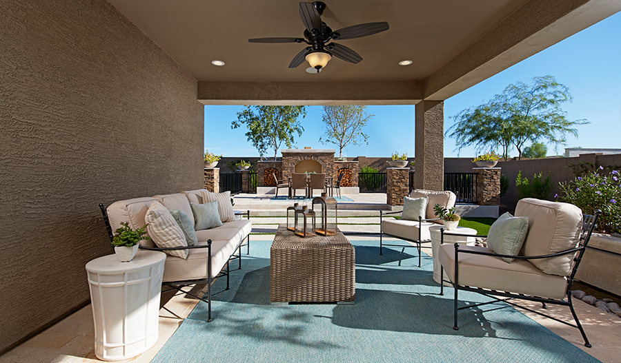 Patio of the Raleigh plan in Desert Oasis in PHX