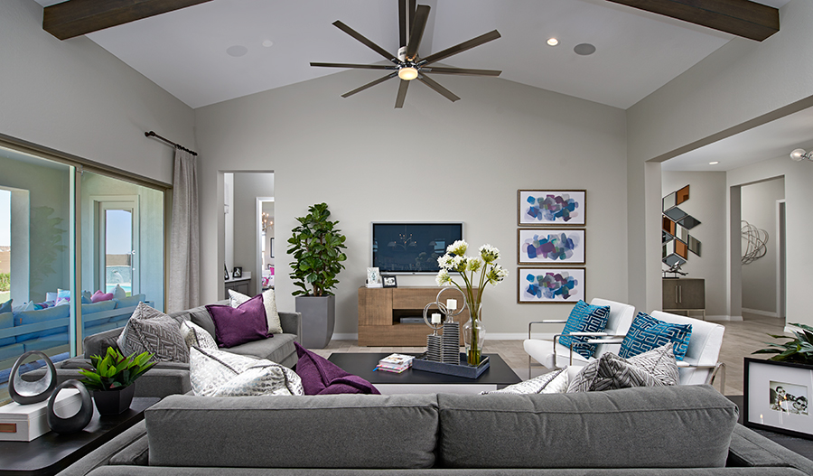 Family room of the Rocco plan in Eastmark in PHX