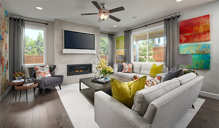 Family room of the Lowell plan in Summerwalk in Washington