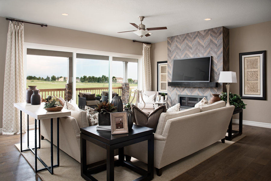 Family room of the Dayton plan in Anthem Highlands Retreat