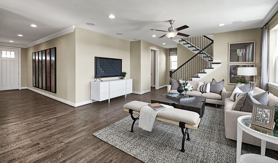 Family room of the Hopewell plan in Mid A