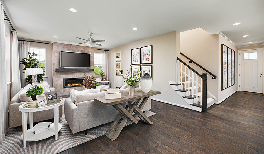Family room and entryway of the Pearl plan in Hager's Crossing