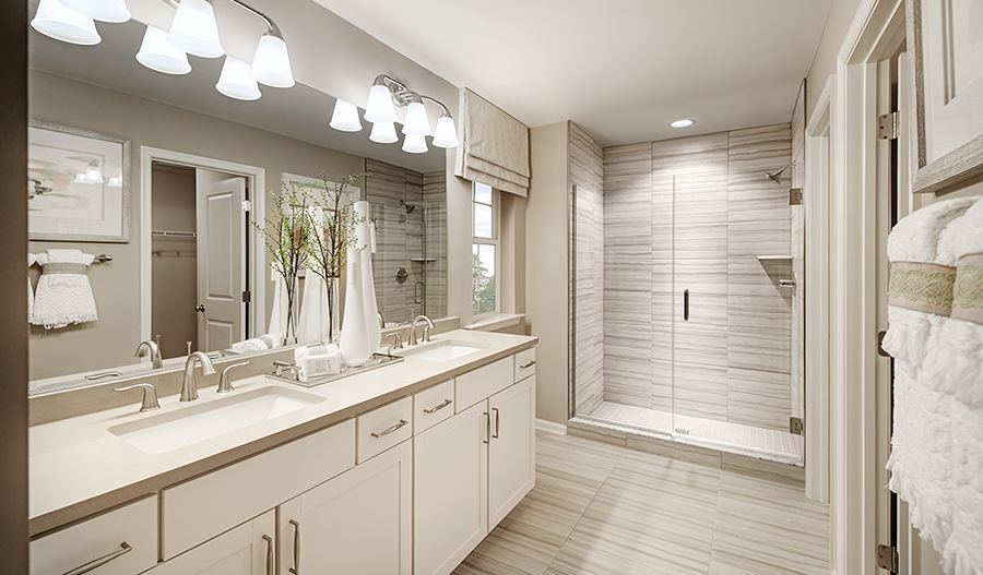 Master bathroom of the Pearl plan in Hager's Crossing
