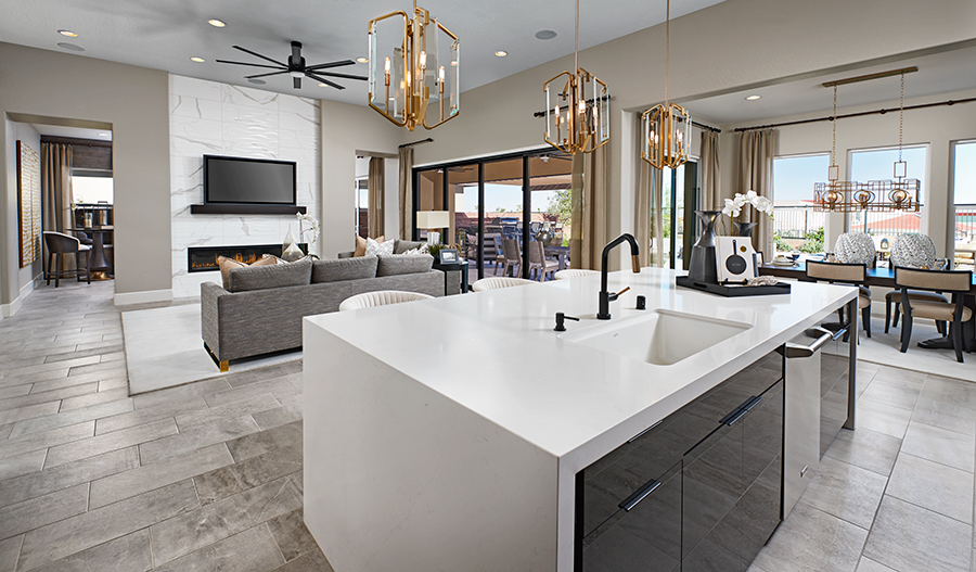Great room and kitchen of the Ryder plan in LV