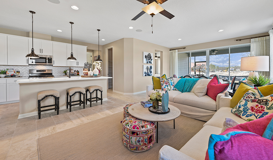 Kitchen and Great room of the Jasper plan in JAX