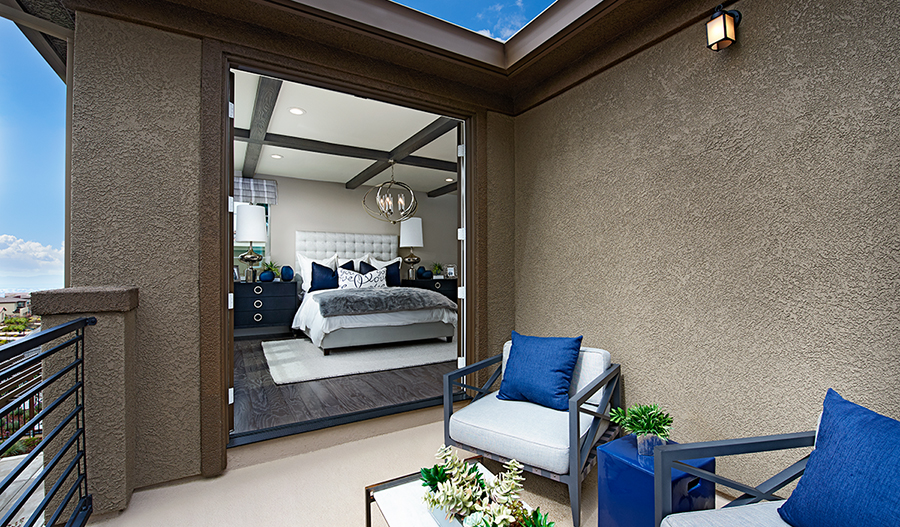 Master suite deck of the Pascal plan in Stonebrae in NCA